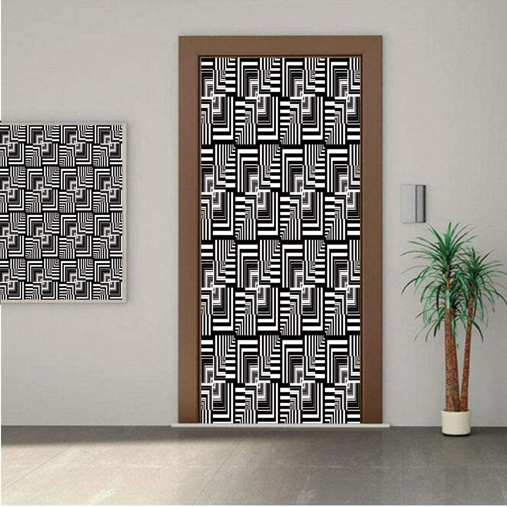 """Black and White Premium Stickers for Door/Wall/Fridge Home DecorGeometric Op Art Pattern Unusual Checked Optical Illusion Effect Modern Decorative 18x80"""" ONE Piece Sticky Mural,Decal,Cover,Skin"""