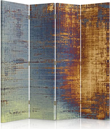 Feeby Frames Biombo Impreso sobre Lona, tabique Decorativo para Habitaciones, a Doble Cara, de 4 Piezas (145x180 cm), Abstracto-ABSTRACCIÓN, Arte, Retro, Color, Azul, Amarillo: Amazon.es: Hogar