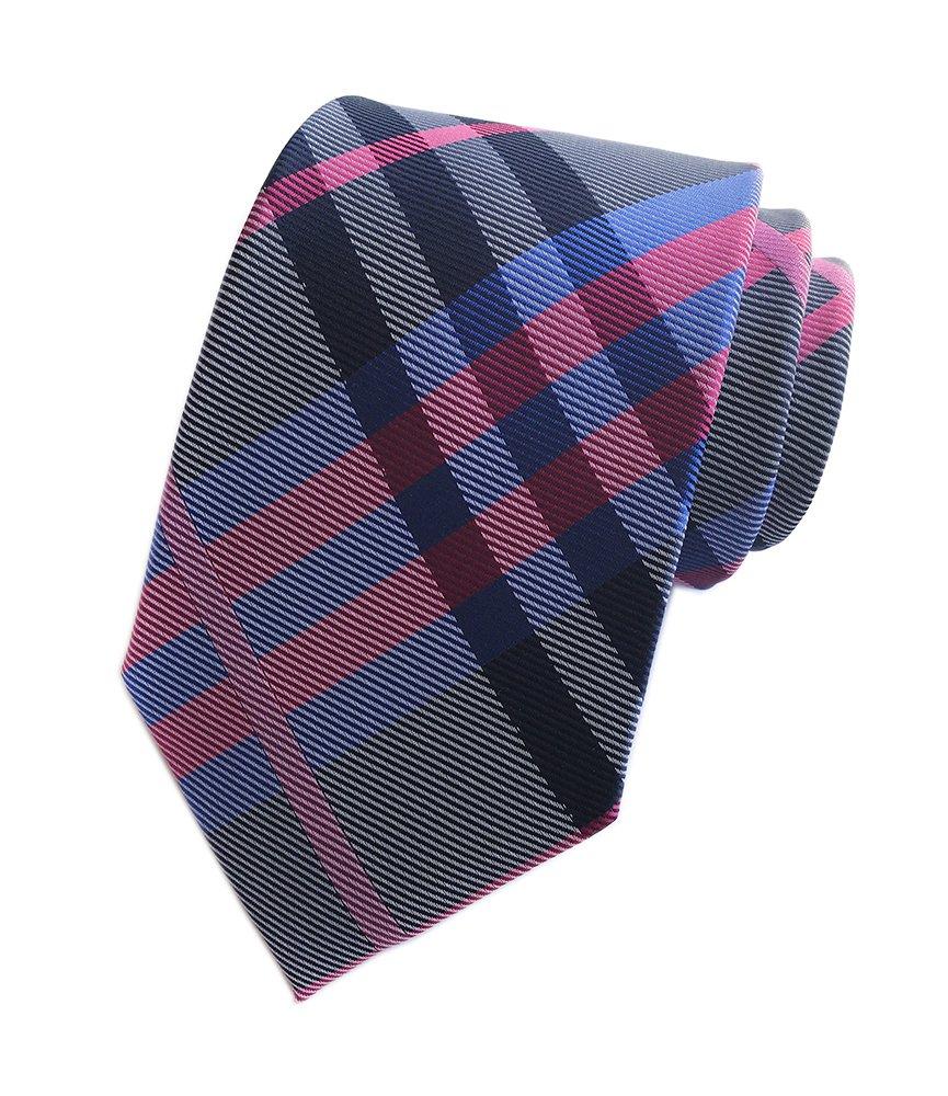 Secdtie Men's Navy Rose Grey White Jacquard Woven Silk Tie Evening Necktie YUE13