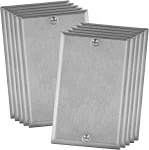"""ENERLITES Blank Device Metal Wall Plate, Stainless Steel Blank Outlet Covers, Corrosion Resistant, Size 1-Gang 4.50"""" x 2.76"""", UL Listed, 7701-10PCS, 430 Stainless Steel, Silver (10 Pack)"""