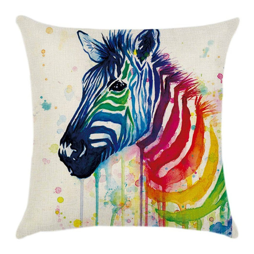 Gluckliy Colourful Zebra Pattern Pillowcase Decorative Throw Pillow Case Cushion Cover for Sofa Car Home Decor (Style 1) fangqiang