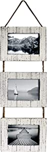 "Barnyard Designs Rustic Farmhouse Distressed Picture Frames - Vertical White Wood Photo Frame Display - 3 5"" x 7"" Frame Set on Hanging Rope 27"" x 9.5"""