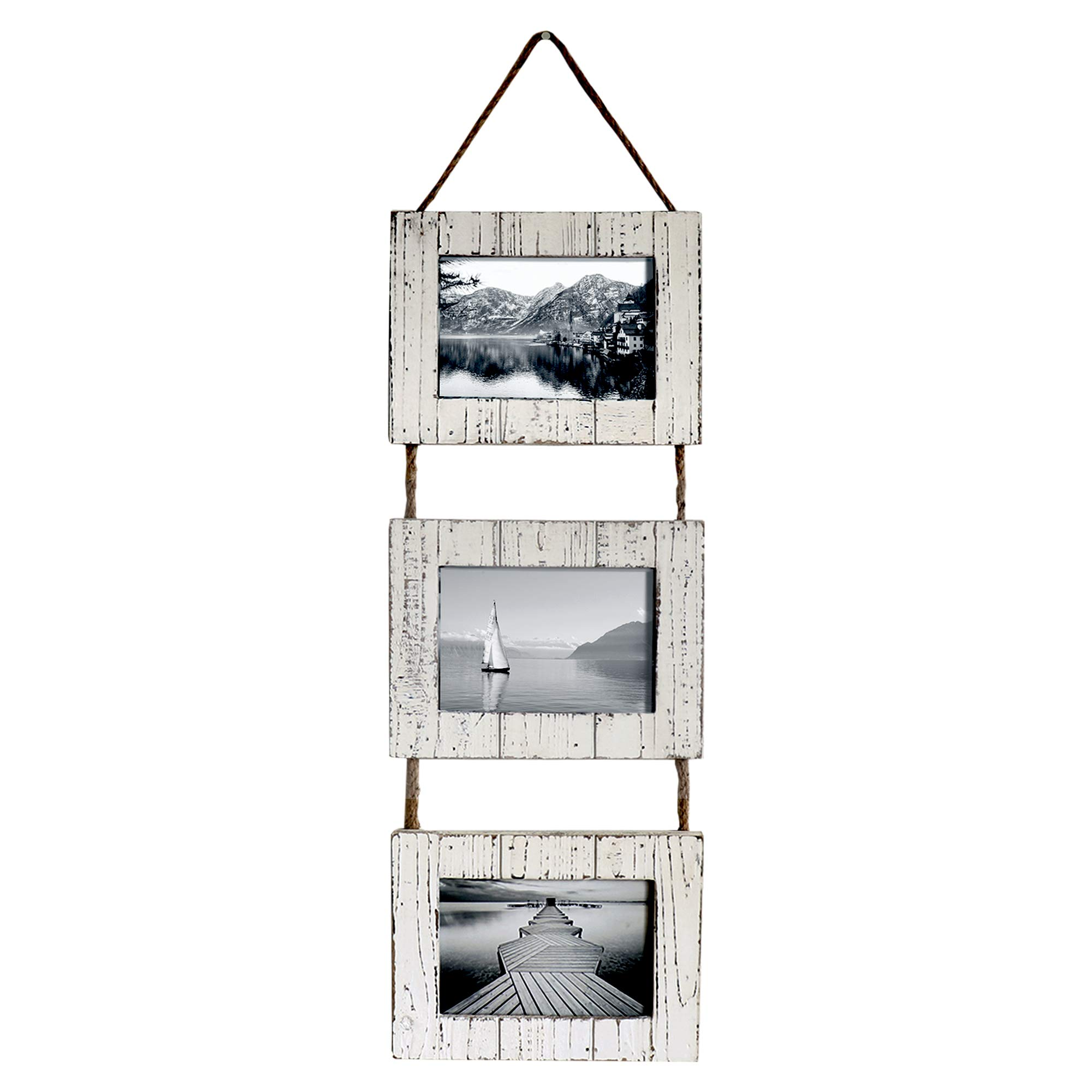 "Barnyard Designs Rustic Farmhouse Distressed Picture Frames - Vertical White Wood Photo Frame Display - 3 5"" x 7"" Frame Set on Hanging Rope 27"" x 9.5''"