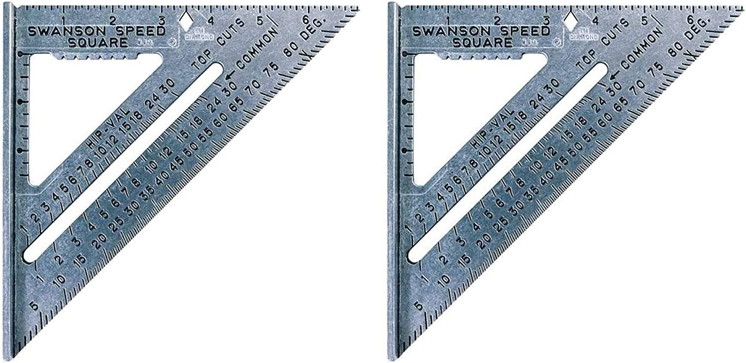 Swanson Tool S0101 7-inch Speed Square Layout Tool with Blue Book - 2 Pack