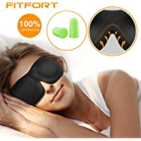 FITFORT Premium Schlafmaske 3D Schlafbrille - Augenmaske für Frauen & Herren Schlafen Bequem und Weich 100% Blackout und Verstellbarem Gummiband Inklusive Ohrstöpsel Reise unerlässlich, Schwarz