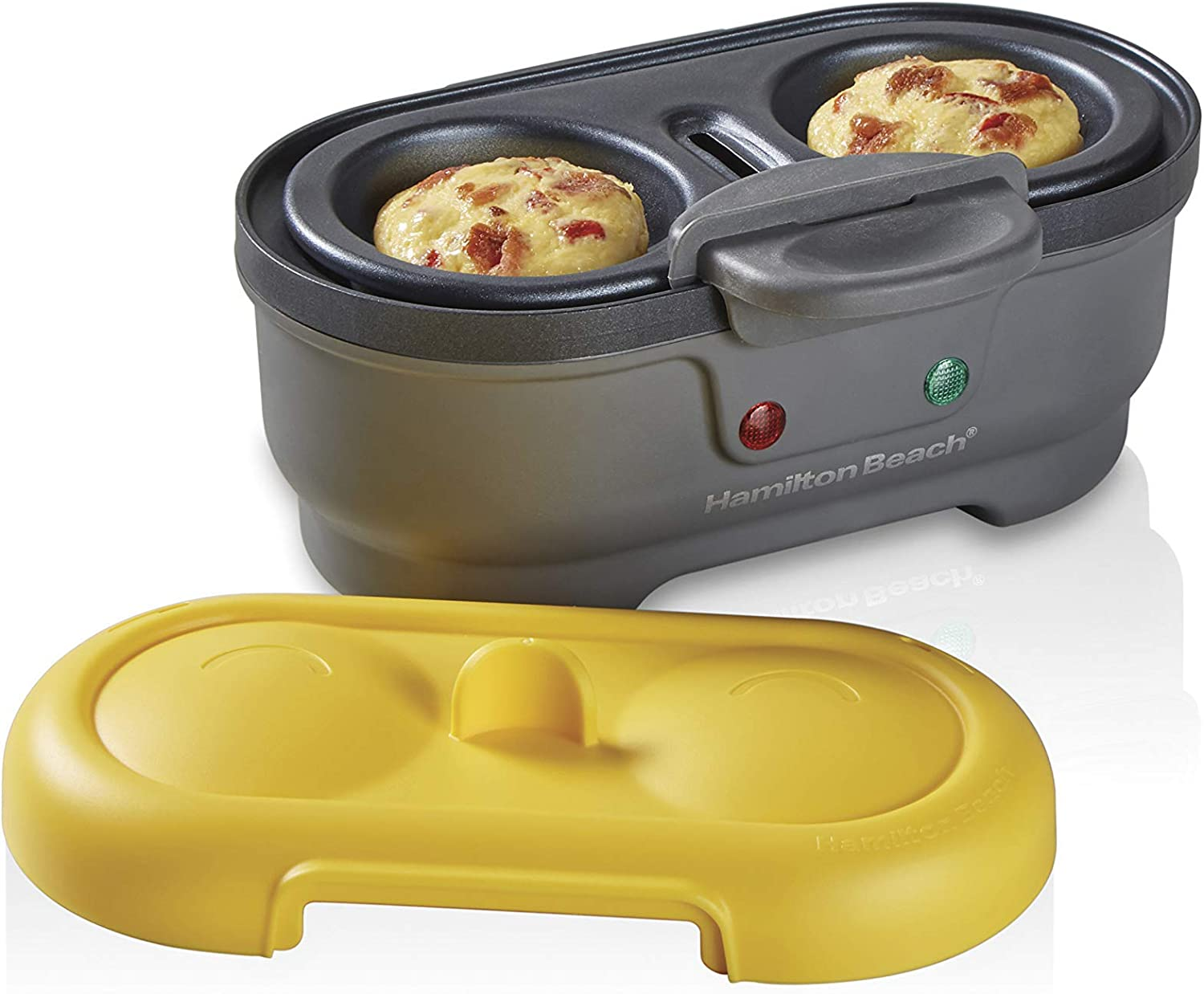 Hamilton Beach Electric Egg Bites Cooker & Poacher, Removable Nonstick Tray Makes 2 in Under 10 Minutes, Yellow (25505) (Renewed)