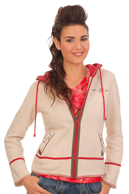 Damen Trachten Sweatjacke - WERNY - natur/rot