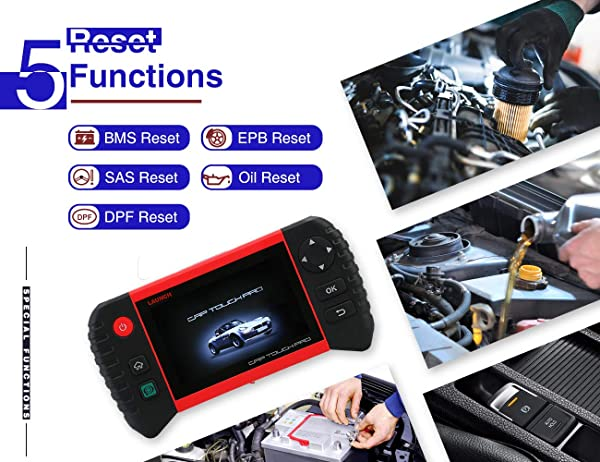 Launch CRP Touch Pro is a Diagnostic Launch Scan Tool with 5 Reset Functions