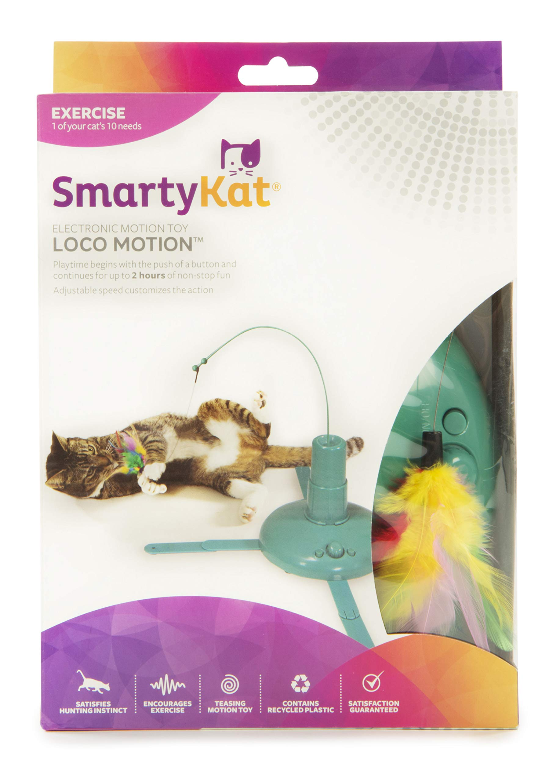 SmartyKat, Loco Motion, Electronic Motion Cat Toy, Interactive Wand, With Feathers, Adjustable Speed, Battery Powered