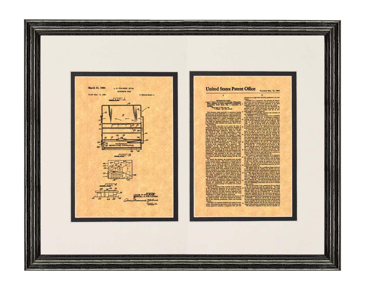 """Microwave Oven Patent Art Print in a Black Wood Frame with a Double Mat (18"""" x 24"""") M15868"""