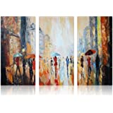 IARTS Oil Painting Modern Wall art 100% Hand-Painted Canvas Artwork for Living Room, Office or Restaurant Wall Decorations, Paris Street View in Rain, 24 X 36 inches Set of 3