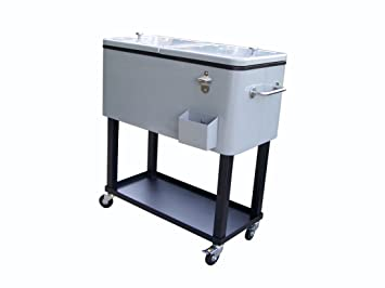 Lovely Oakland Living 90010 MT Steel Patio Cooler With Cart, 80 Quart, Metallic