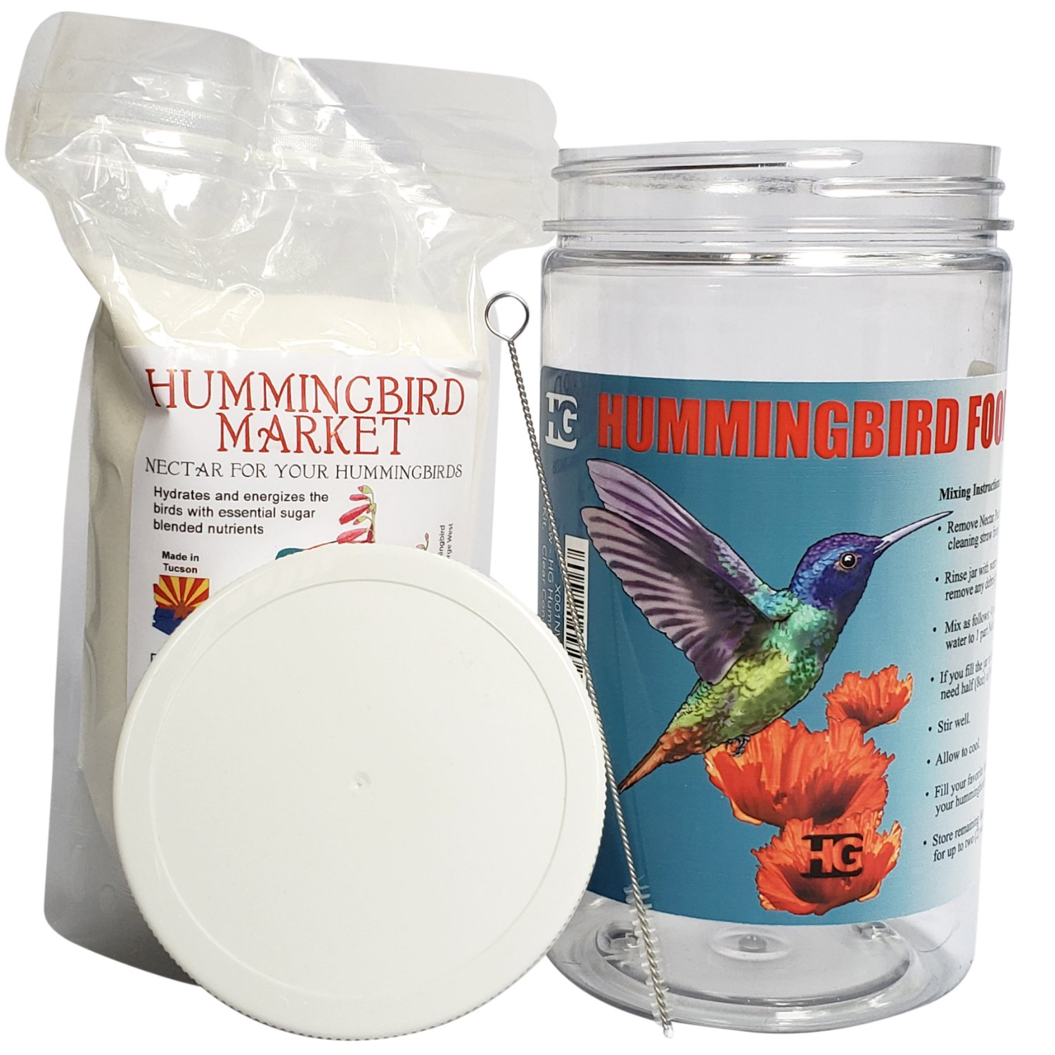 Happy Gross HG Hummingbird Nectar Kit, Clear Concentrate Hummingbird Food In A One Pound Bag, 32 Ounce Food Grade Bottle, And Hummingbird Feeder Brush Cleaner. All Natural Safe Hummingbird Nectar