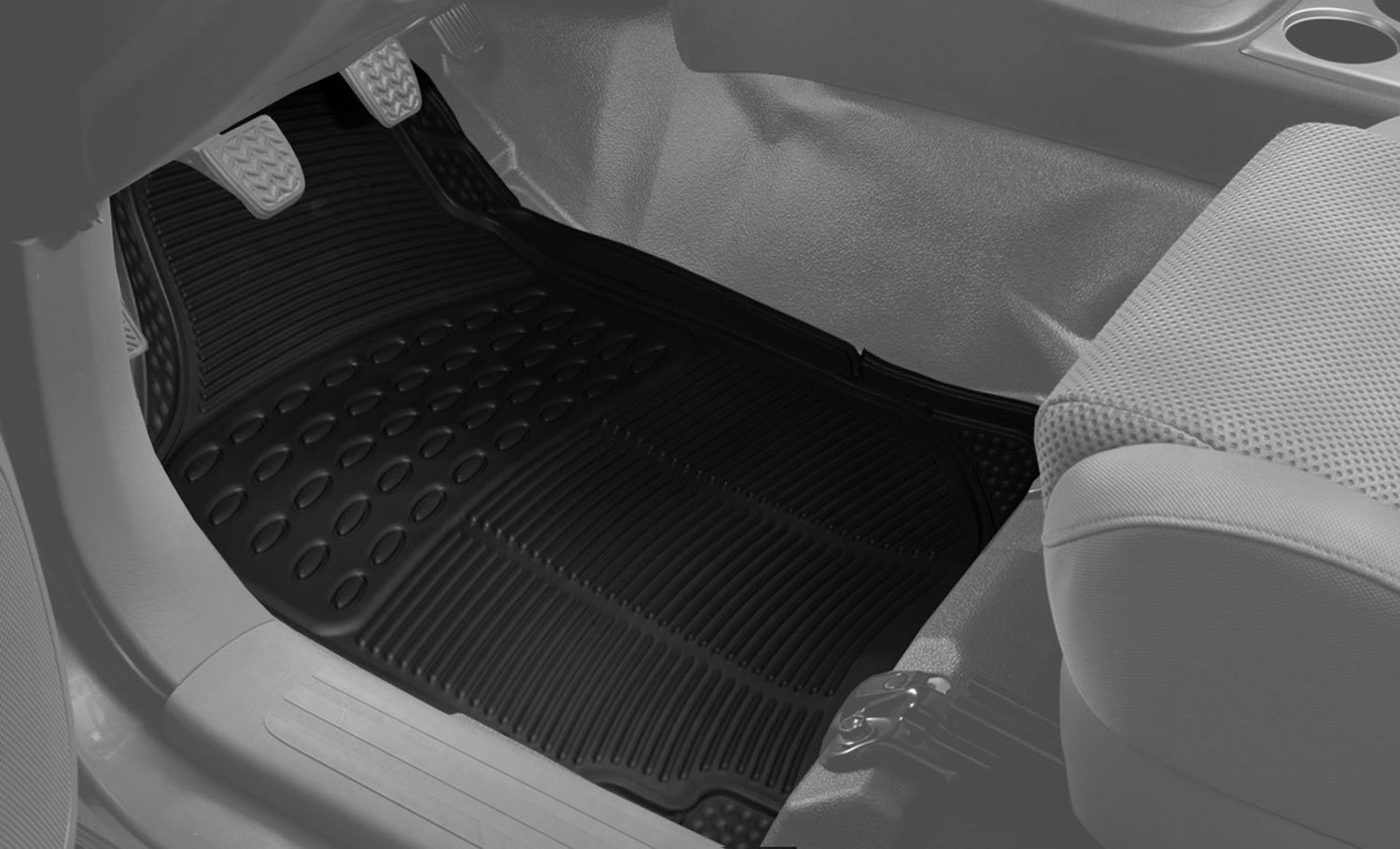 FH GROUP F11306-3ROW Quality All Weather Rubber Auto Floor Mats Liner - Gray by FH Group (Image #5)