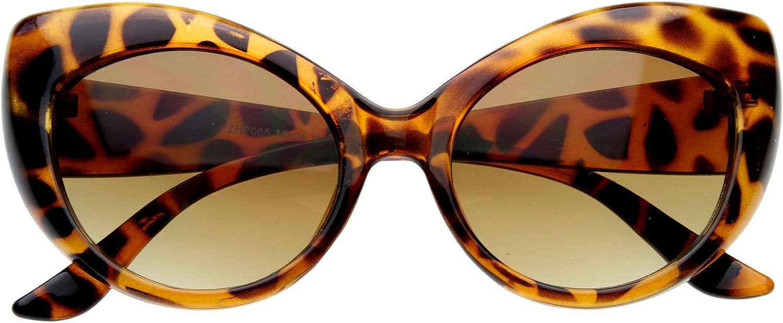 Oversized Vintage Inspired Super & Bold Retro Designer Cat Eye Sunglasses (Tortoise Shell)
