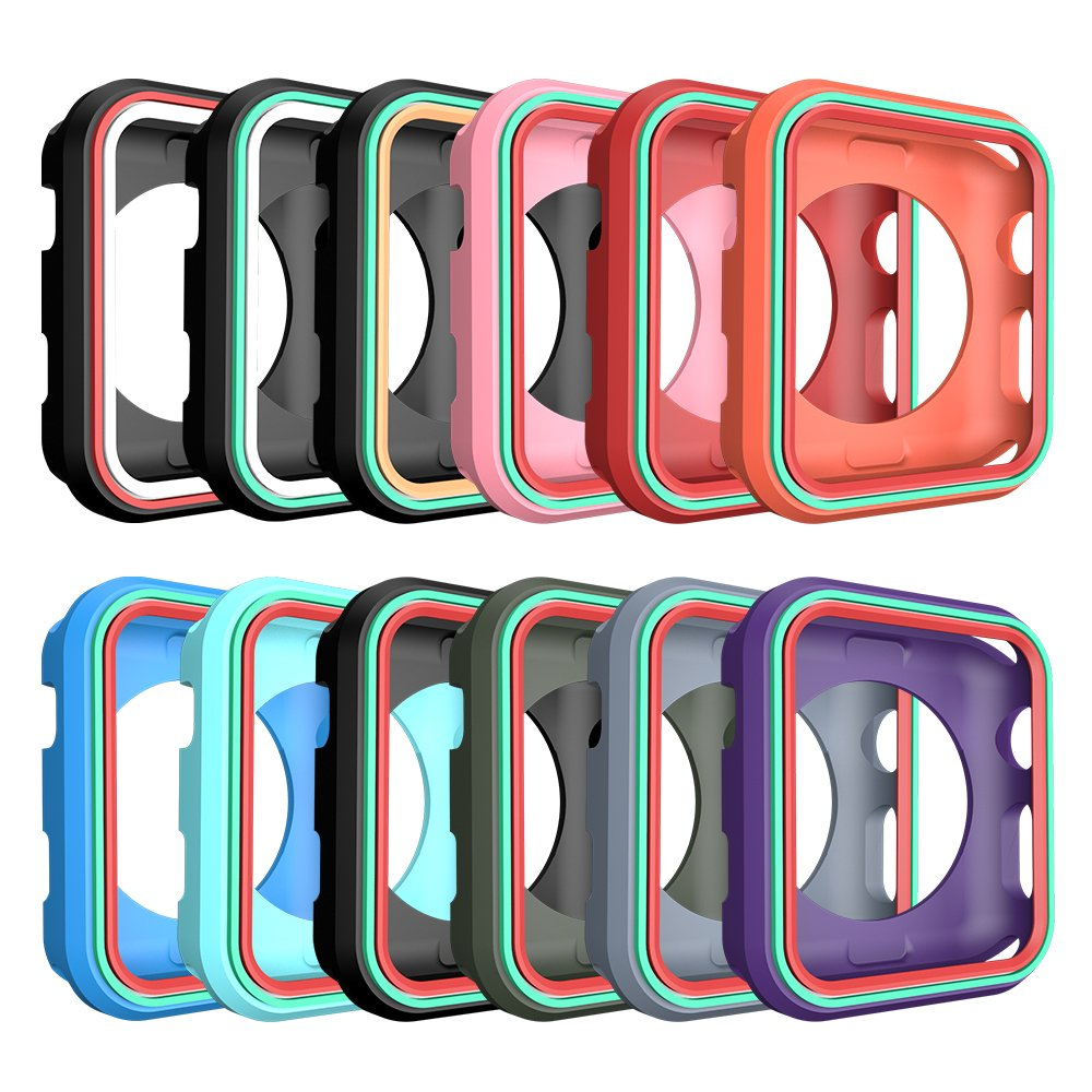 AWINNER Colorful Case for Apple Watch 38mm,Shock-proof and Shatter-resistant Protective iwatch Silicone Case for Apple Watch Series 3,Series 2,Series 1, Nike+,Sport,Edition (12-Colour) by AWINNER (Image #1)