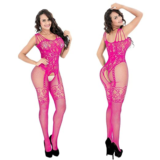 3060f56857f Stebcece Fishnet Stockings Sexy Body Stocking Net Pantyhose Women s Mesh  Tights (hot Pink)