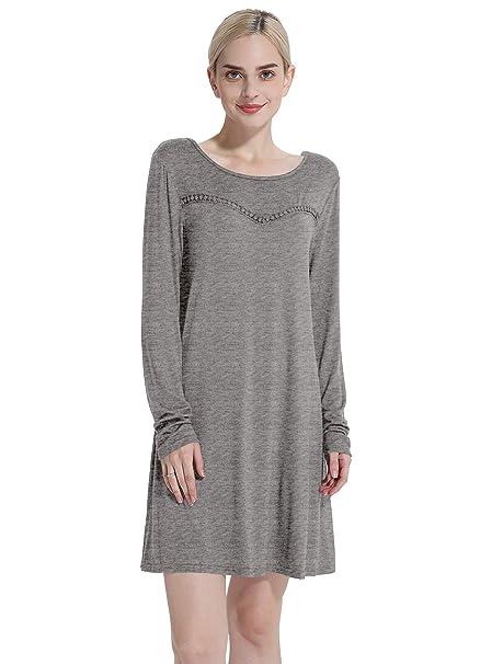 151e7ce74ed Cyparissus Tunics for Women Long Sleeve Tunic Swing Top Loose Basic Women's  Tops Swing Dress