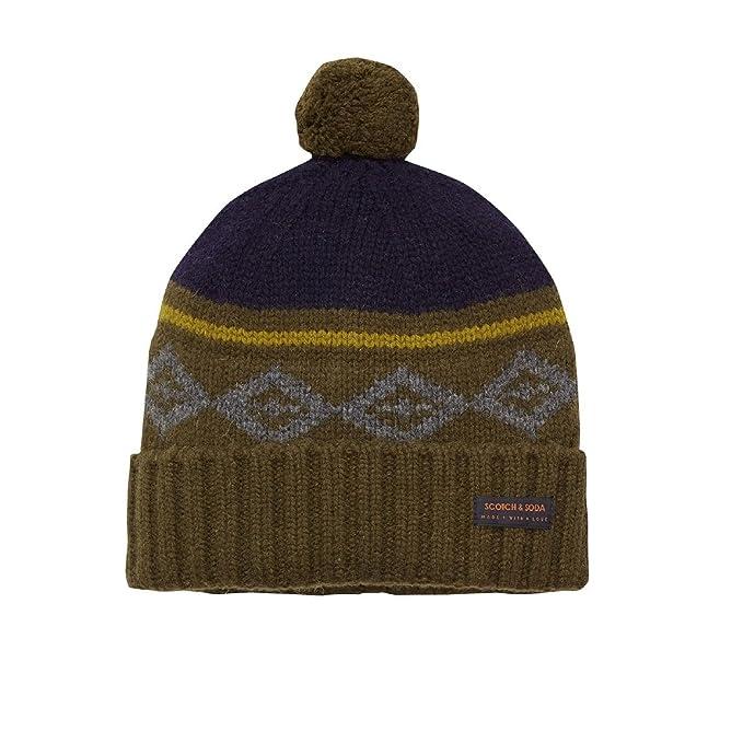 2540337bb Scotch & Soda knit pattern Pom-Pom Mens beanie