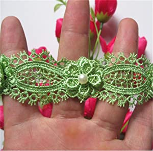 2 Meters Flower Pearl Eyelash Lace Edge Trim Ribbon 3 cm Width Vintage Style Grass Green Edging Trimmings Fabric Embroidered Applique Sewing Craft Wedding Dress Embellishment Decor Clothes Embroidery