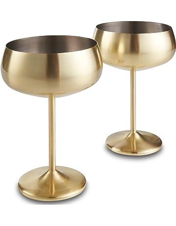 Set de 2 vasos copa de champán con acabados en oro VonShef – Acero inoxidable a