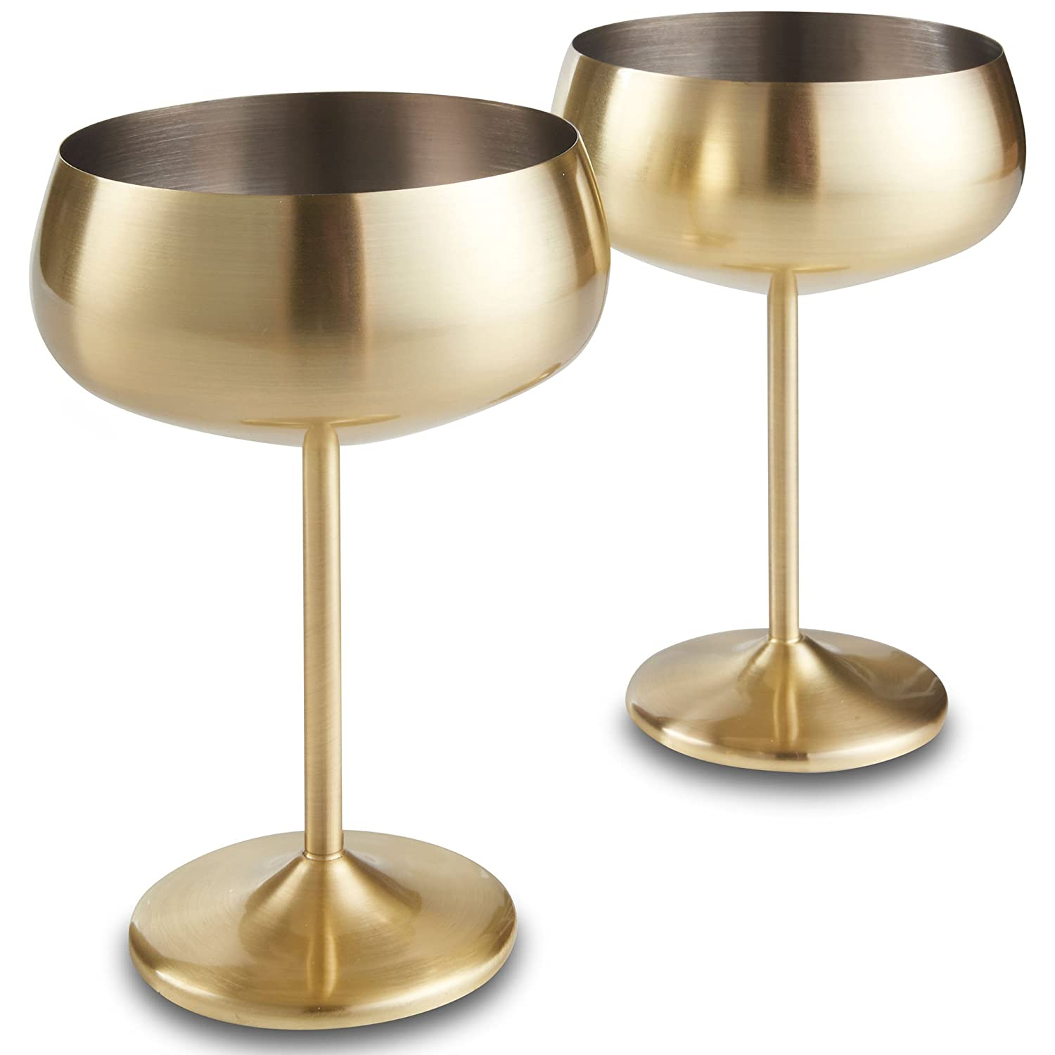 VonShef Champagne Coupe Glasses Brushed Gold Set of 2 – Shatterproof Stainless Steel