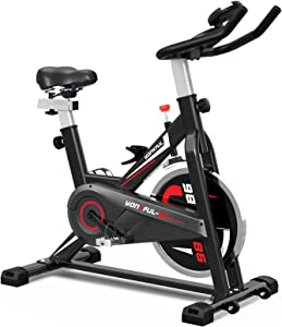 YONKFUL Exercise Bike Belt Drive Indoor Cycling Bike for Workout Fitness Adjustable Stationary Bicycle Home Gym Equipment Cardio Bikes with LCD Display and Comfy Seat Cushion