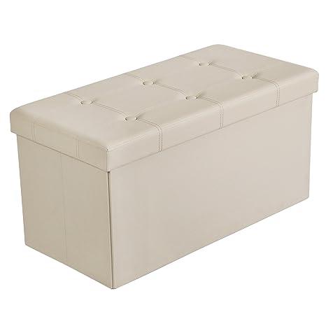 SONGMICS 30u0026quot; L Faux Leather Folding Storage Ottoman Bench, Storage  Chest/Footrest/