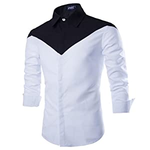 Allonly Men's Casual Long Sleeve Cotton Shirt Color Block Button Down Shirt