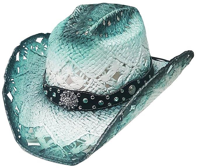 Modestone Straw Sombrero Vaquero Breezer Metal Concho Studs Hatband Blue   Amazon.es  Ropa y accesorios fb55c022ad9