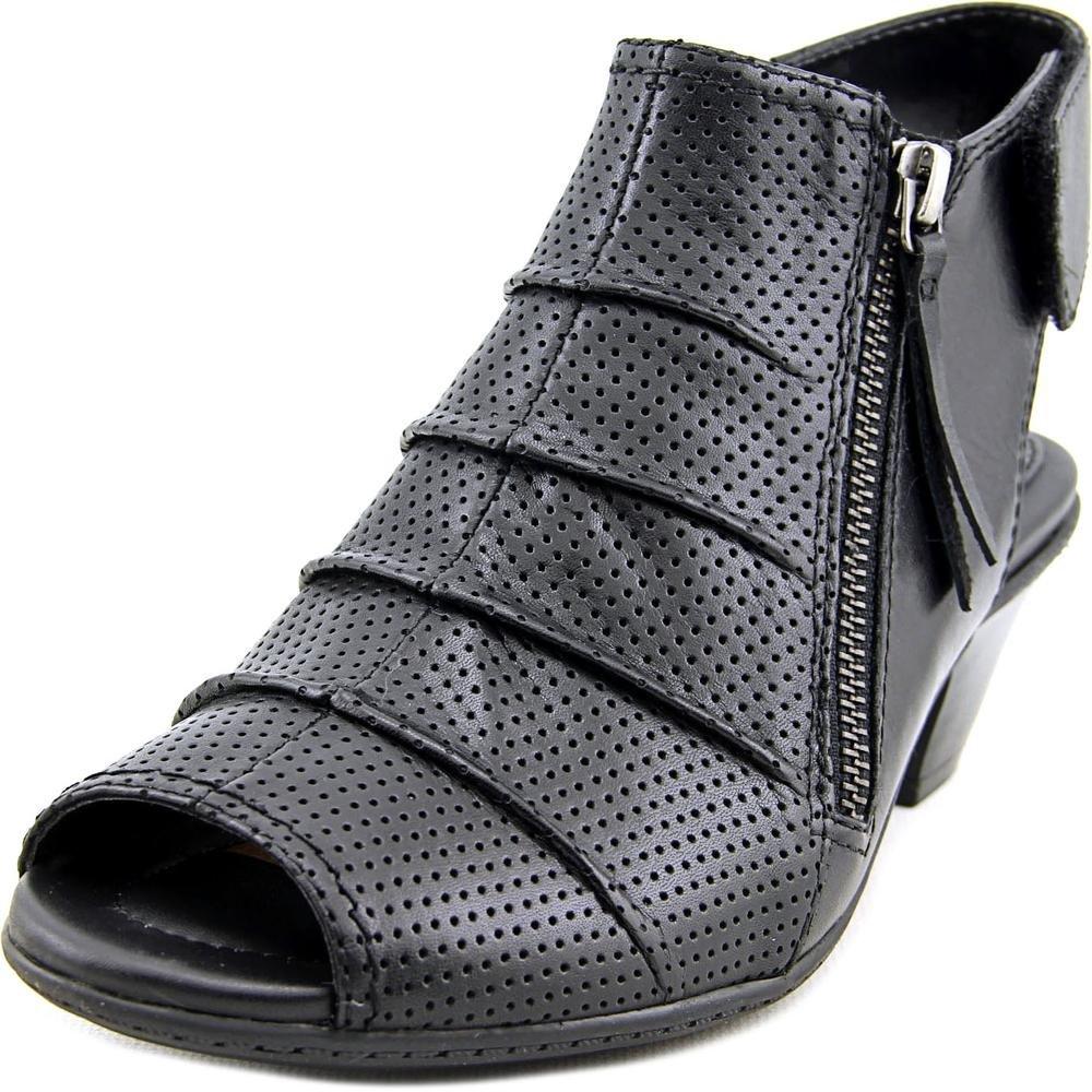 Earth Women's Hydra Mid Heel Sandal,Black Soft Leather,US 7.5 M