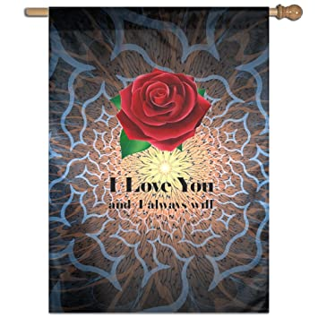 amazon com kuswaq i love you red rose home garden flags 27x37 inch rh amazon com red rose home tuition red rose homes limited
