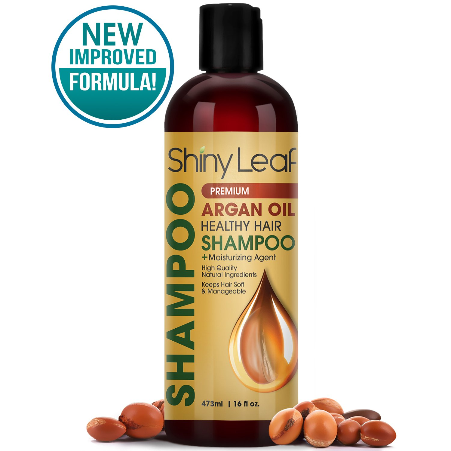 Shiny Leaf Argan Oil Healthy Hair Shampoo – Premium Anti Hair Loss Shampoo Treatment With Argan Oil, Thickens, Strengthens All Hair Types, Leaves Hair Smooth, Huge 16 oz (473 ml) Bottle