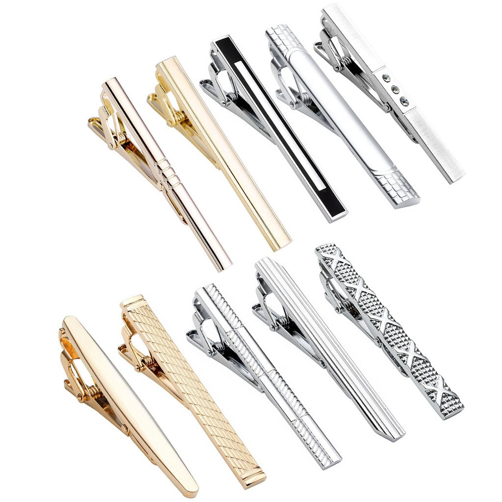 Zysta 10PCS Men Stylish Fashion Tie Clips Set Stainless Steel Gold Black Silver Mixed Colors Necktie Clasps