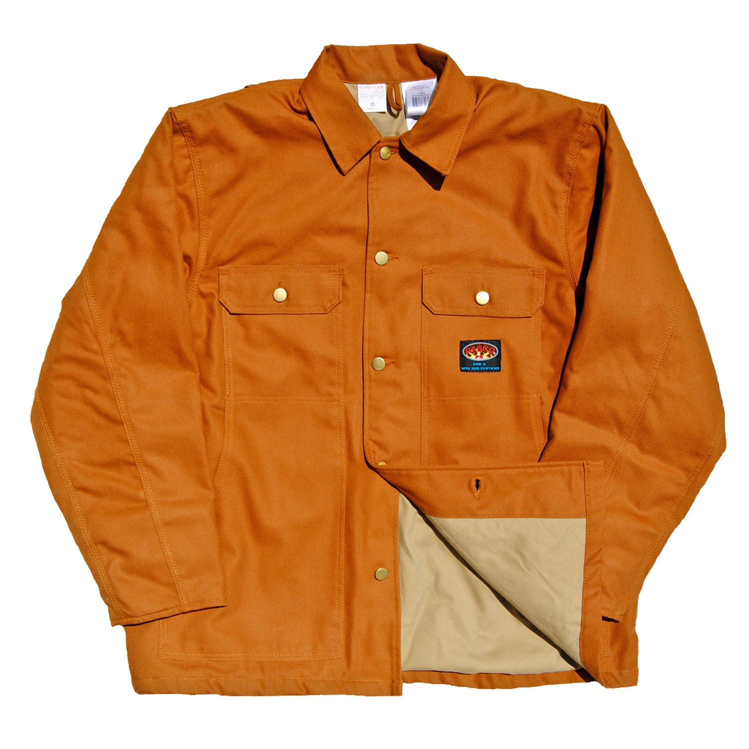 Rasco FR Brown Duck Quilted Chore Coat BCFQ1213 Flame Resistant Jacket