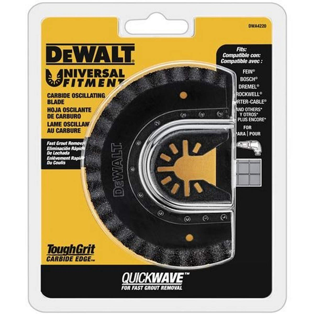 DEWALT Oscillating Tool Blade for Grout Removal, Fast Cutting, Carbide (DWA4220)