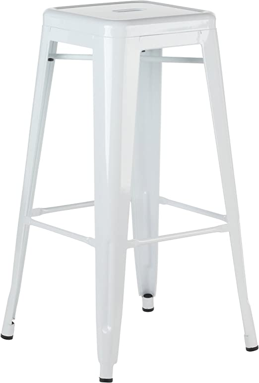 Amazon Com Metal Tolix Style 30 Inch Bar Stool White Home Kitchen