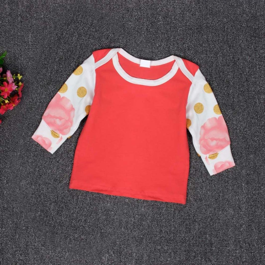 Long Sleeve Printing Outfit Sets Franterd Baby Girls T-Shirt+Long Pants+Hat