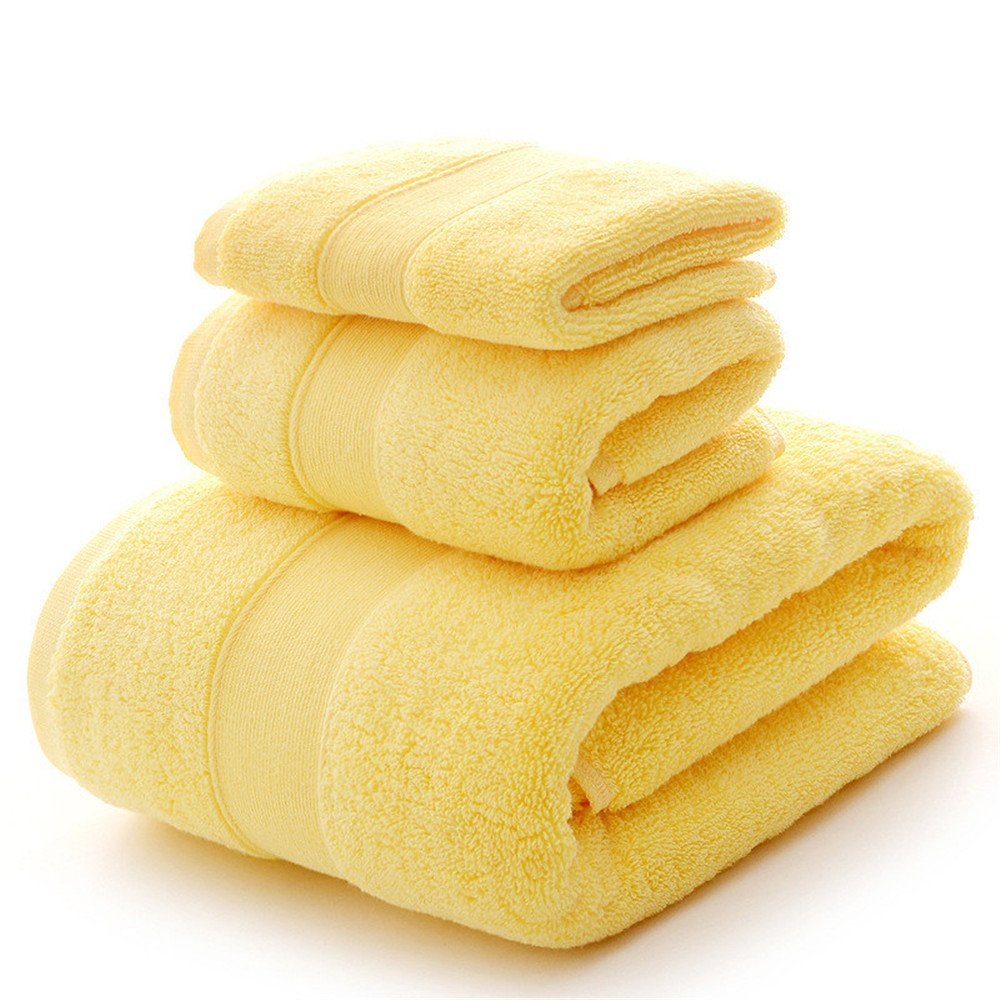Bath Towel Sets Clearance 900 GSM Premium 6 Piece Bathroom Sheets Yellow, Luxury Hotel Spa 100% Cotton, 2 Bath Towels, 2 Hand Towels and 2 Washcloths