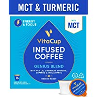 VitaCup Genius Blend 16ct. Top Rated Coffee Cups with MCT, Turmeric, Cinnamon Infused With Vitamins B12, B9, B6, B5, B1, and D3, Pods Compatible with K-Cup Brewers including Keurig 2.0 Keto Friendly
