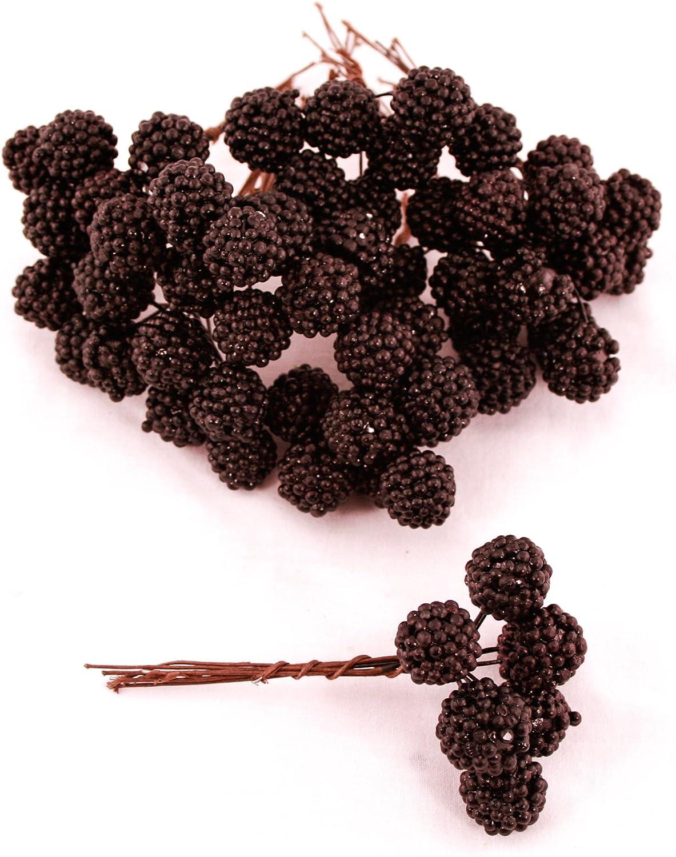 Artificial Blackberry stem bundles Set of 6 decorative fruit wreaths arrangement