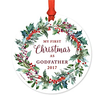 andaz press family metal christmas ornament my first christmas as godfather 2018 red holiday