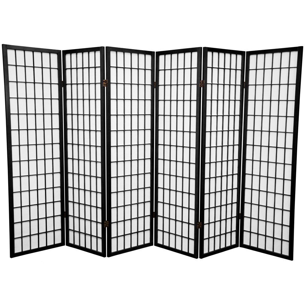 SQUARE FURNITURE Panel Shoji Screen Room Divider 6 Panel Black by SQUARE FURNITURE