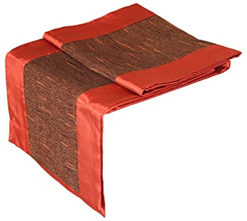 Artiwa Burnt Orange U0026 Brown Silk Decorative Table Runner U0026 Bed Runner 14 By  ...