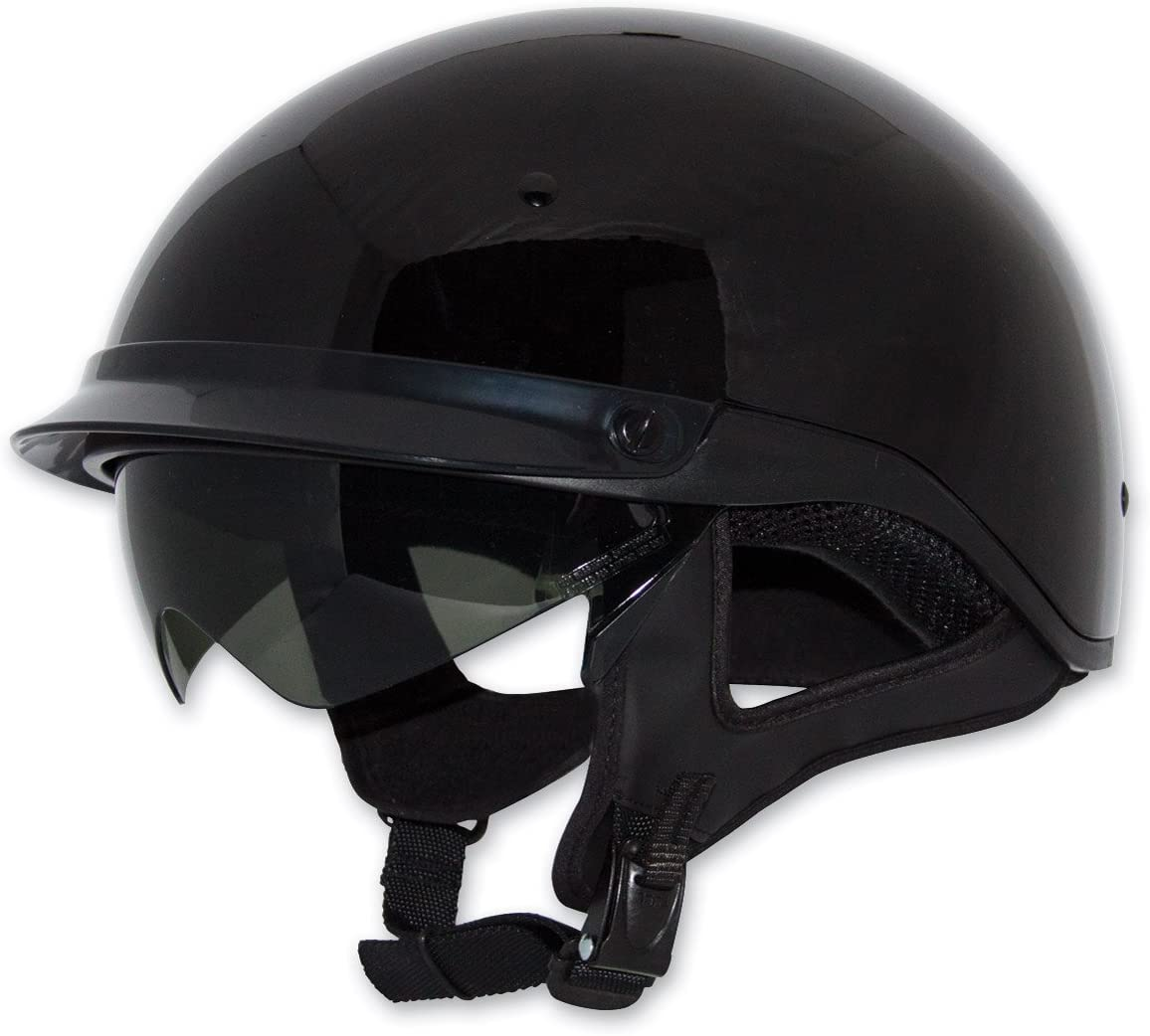 ZOX ST-235A /'Roadster DDV/' Gloss Black Motorcycle Half Helmet Large