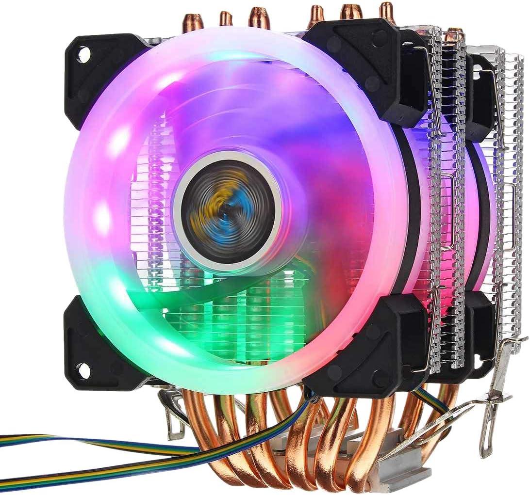 REFURBISHHOUSE 6 Tubo de Calor CPU del Ventilador del Refrigerador 3 Linea RGB Led Ventilador del Refrigerador Radiador de Disipador TéRmico Silencioso para Intel 775/1150/1151 Etc para All