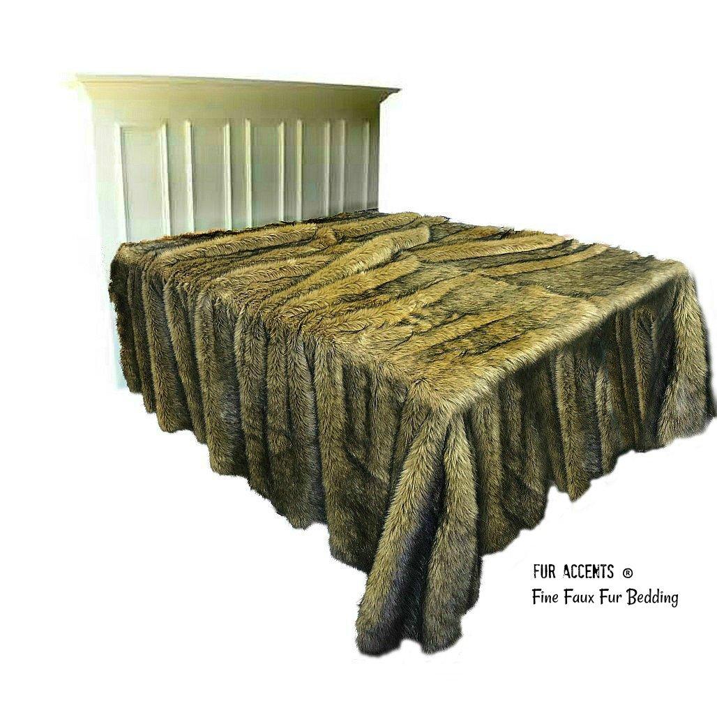 Fur Accents Faux Bedspread - Coyote - Wolf - Plush Faux Fur Design - Desert Fox Brown Tone - Shag - Minky Cuddle Fur Lining - Fur Accents (110x120XLKING)