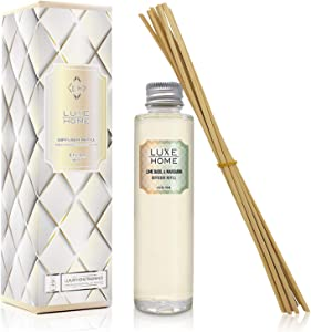 Luxe Home Lime Basil & Mandarin Reed Diffuser Refill Oil with Sticks | Italian Mandarin, Juicy Lime & Herbaceous Basil | Scented Replacement Oil for Room Diffuser | Great Bathroom Scent!