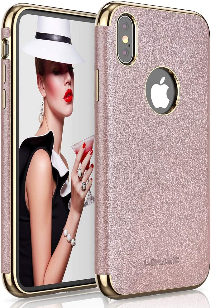 LOHASIC iPhone Xs Max Case for Women, Slim Luxury Pink Leather, Soft Flexible Bumper Non-Slip Grip Shockproof Anti-Scratch, Phone Protective Girls Cover Cases for iPhone Xs Max 6.5 inch (Rose Gold)