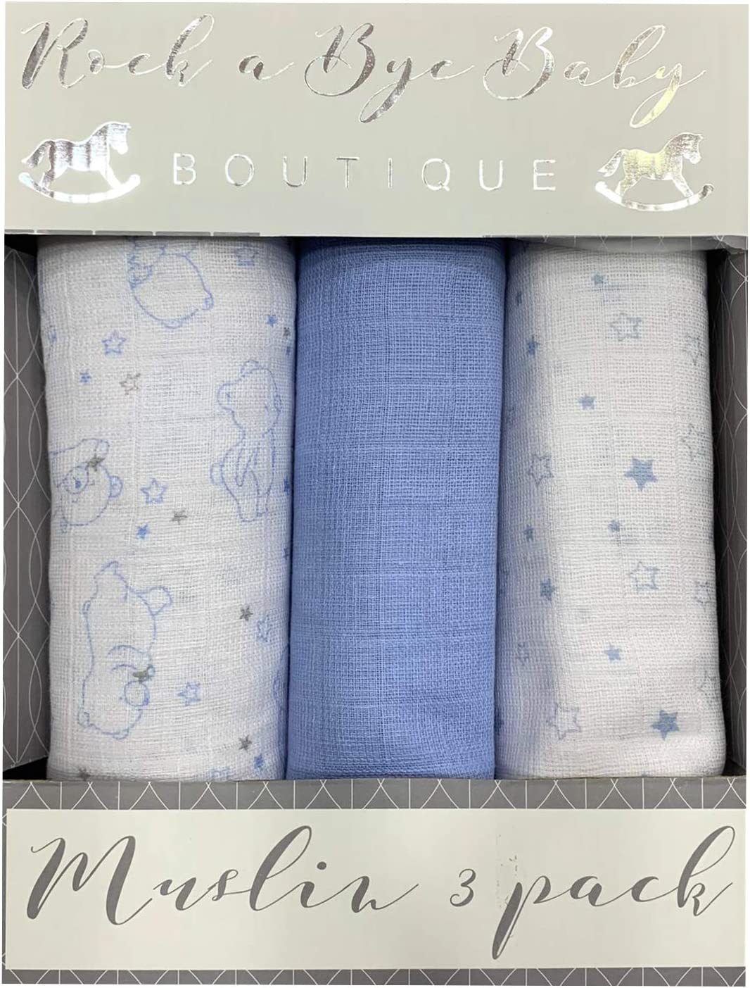 3PK 100/% Pure Cotton Baby Muslin Squares 75x100cms Blue Teddy and Star Set
